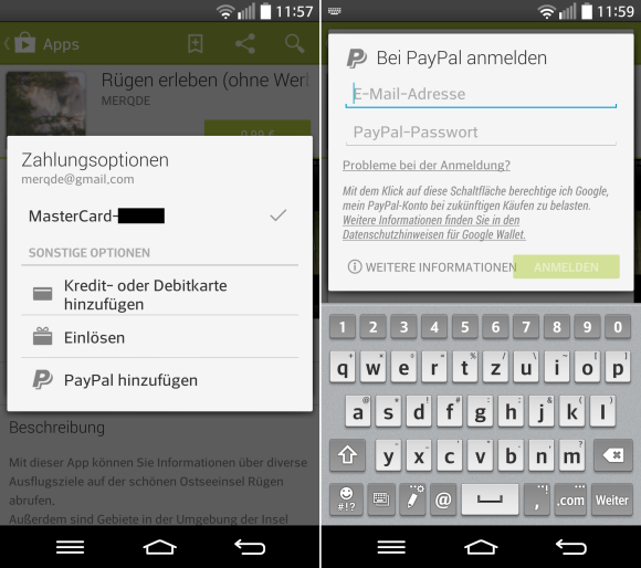 Paypal bei Google Play